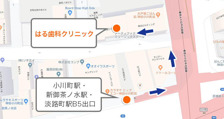 小川町駅、新御茶ノ水駅、淡路町駅が近い方